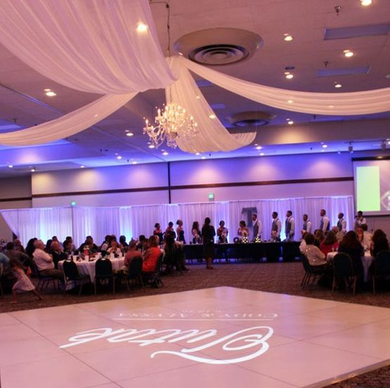 Wedding dance floor with special lighting on the floor